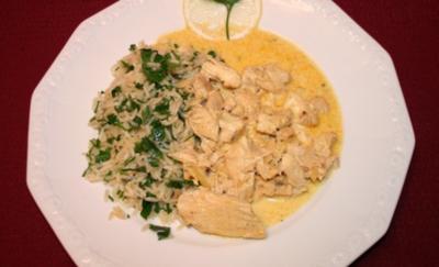 Hühnerbruststreifen an Ingwer-Zitronen-Soße, begleitet von Petersilien-Weißwein-Reis - Rezept