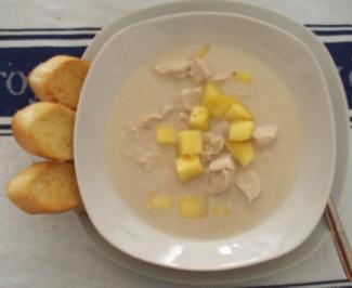Kokos-Mango-Suppe mit Hähnchenbrust - Rezept