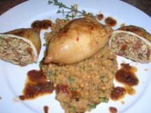 Tintenfischtuben, herzhaft gefüllt auf roten Linsen - Rezept