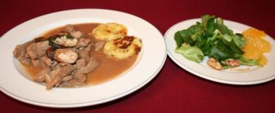 Züricher Geschnetzeltes mit Rösti, frischen Kräutersteinpilzen und Feldsalat - Rezept