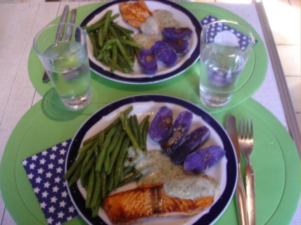 Lachsfilet mit Dillsauce, grünen Bohnen und Kartoffeln - Rezept - Bild Nr. 13