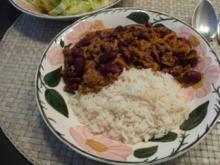 Hackfleisch : Gehacktes mit Kidney- Bohnen und Reis dazu einen Salat - Rezept