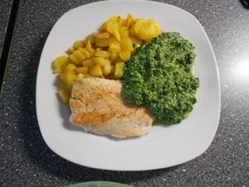 Röstkartoffeln mit Lachs und Spinat(Soße) - Rezept
