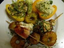 Geflügelspieße mit Champignons und Ananas, Cocos- Kartoffelpüree - Rezept