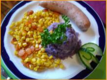 Krakauer mit Kartoffel-Sellerie-Stampf und Möhren-Mais-Gemüse - Rezept