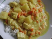 Huhn : Curryhuhn mit Gemüse, Ananas und Basmatireis - Rezept