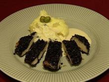 Schwarze Hähnchenbrust mit grünem Kartoffelpüree (Silvia Laubenbacher) - Rezept