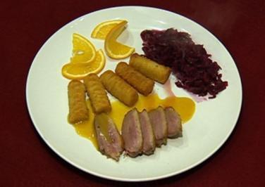 Rezept: Entenbrust à l'Orange mit Apfelrotkohl und Kroketten (Harry Wijnvoord)
