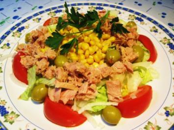 Großer bunter Salat mit Thunfisch ... - Rezept