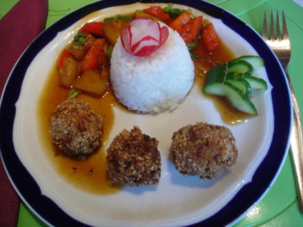 Fleischbällchen mit gemahlenen Mandeln und Gemüse süß-sauer - Rezept - Bild Nr. 29