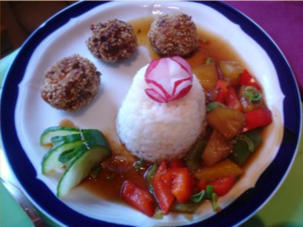 Fleischbällchen mit gemahlenen Mandeln und Gemüse süß-sauer - Rezept - Bild Nr. 30