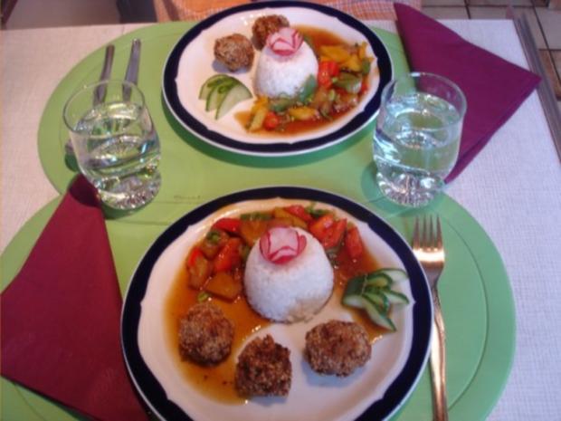 Fleischbällchen mit gemahlenen Mandeln und Gemüse süß-sauer - Rezept - Bild Nr. 28