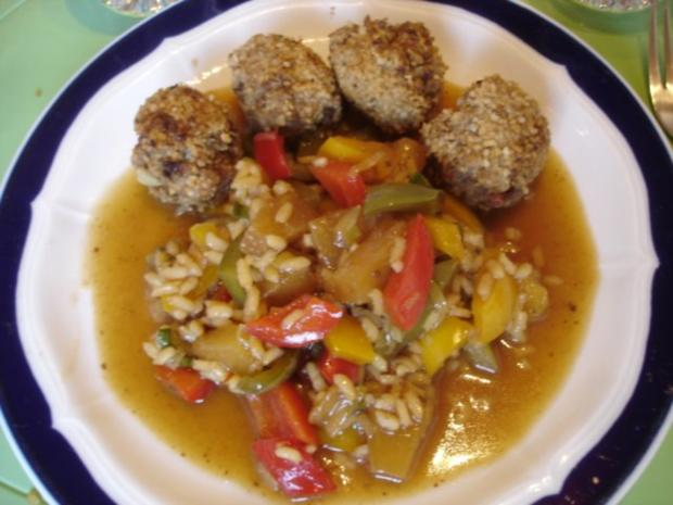 Fleischbällchen mit gemahlenen Mandeln und Gemüse süß-sauer - Rezept - Bild Nr. 31