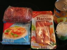 Frikadellen mit Bacon, Ananas & Käse - Rezept