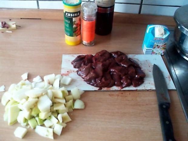 Apfel-Zwiebel Leber mit Kartoffelstampf - Rezept - Bild Nr. 3