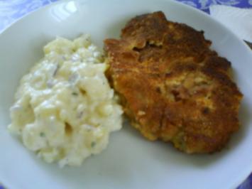 Rezept: Süß saurer Kartoffelsalat mit Schnitzel Wiener Art