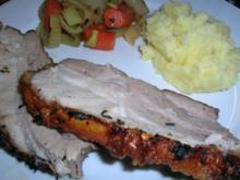 Gerösteter Schweinebauch mit knusprigem Fenchel, Schalotten und Möhrchen - Rezept