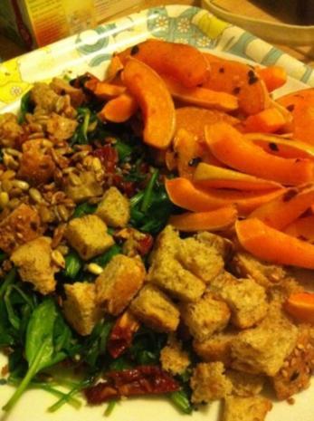 Gegrillter Butternut Kürbis mit Spinatsalat und gerösteten Sonnenblumenkernen - Rezept - Bild Nr. 5