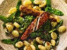 Miesmuschelsüppchen, Teriyaki-Kaninchen, Mangocreme - Rezept