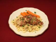 Schweinemedaillons im Parmaschinkenmantel mit Steinpilz-Gorgonzola-Soße, dazu Spätzle - Rezept