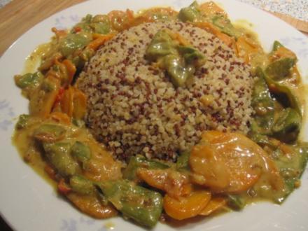 Bulgur-Quinoa mit scharfem Gemüsecurry - Rezept