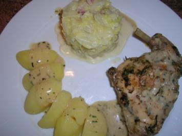 Kaninchen in Estragon-Senf-Sauce (einfach nur lecker die Sauce!) an Spitzkohlgemüse - Rezept
