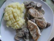 Pute : Putenfilet mit braunen Champignon in Sahnesoße - Rezept