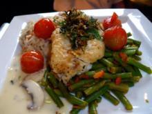 gebratenes Kingklipfilet auf Tomaten-Bohnengemüse an Langkornreis, Schlotten Weißweinsoße - Rezept