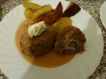 Rezept: Hackfleisch - Roulade an Rahmsauce
