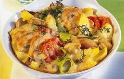 """Rezept: Griechischesr Kartoffelauflauf mit Hühnchen """"PASTITSIO"""""""
