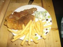 Rehschnitzel mit Rosenkohl und Pommes - Rezept