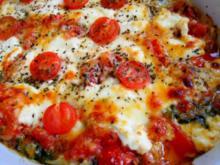 Vegetarische Lasagne; mit Spinat und Tomaten - Rezept