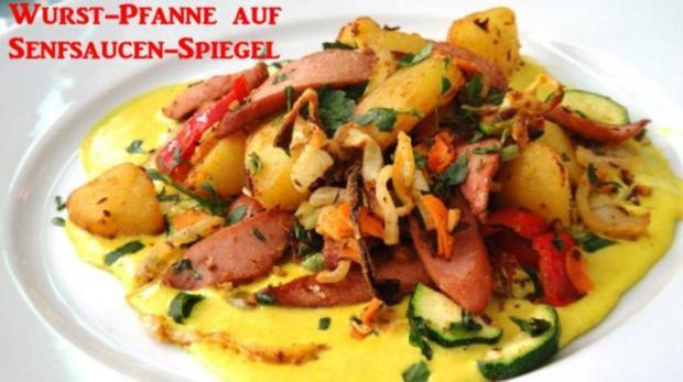 Wurst-Pfanne mit Gemüse auf Senf-Saucen-Spiegel - Rezept