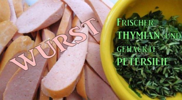 Wurst-Pfanne mit Gemüse auf Senf-Saucen-Spiegel - Rezept - Bild Nr. 3