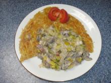 Kartoffel-Rösti mit Champignon-Lauch-Gemüse - Rezept