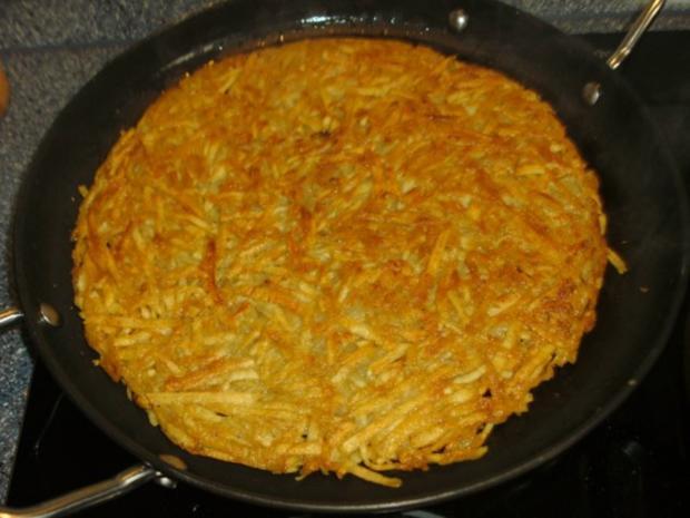 Kartoffel-Rösti mit Champignon-Lauch-Gemüse - Rezept - Bild Nr. 3