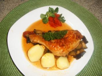 Aubergin -Hähnchenkeulen - Rezept