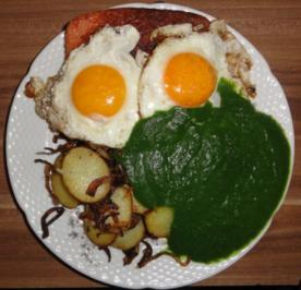 Leberkäse mit Spiegelei, Spinat und Röstkartoffeln - Rezept