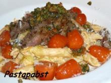 Penne mit Steakstreifen und Pesto - Rezept