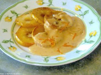 Apfelscheiben mit Orangensacue - Rezept
