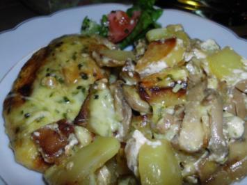 Überbackene Bratkartoffeln mit Schnitzelchen - Rezept