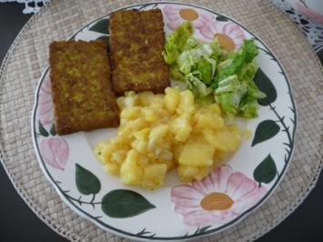 Fleischlos : Schwäbischen Kartoffelsalat mit Bärlauchbratlingen - Rezept