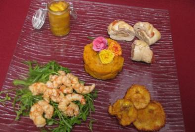 Saludos de Santo Domingo - Hühnerröllchen, Gambas, gebratene Bananen und Süßkartoffelpüree - Rezept