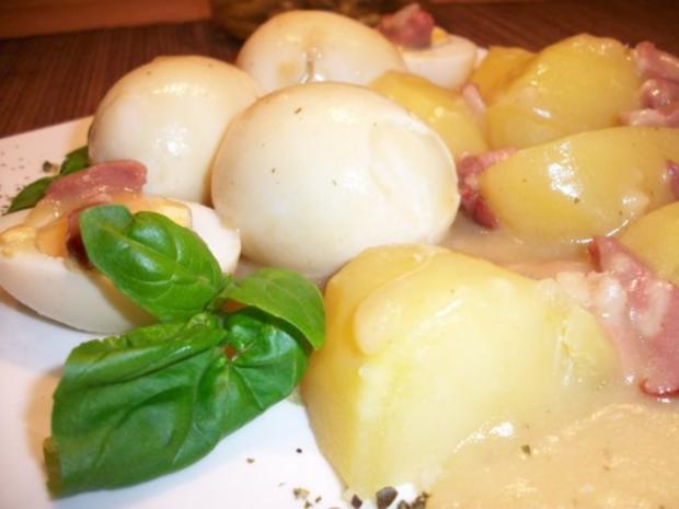 Senfeier mit Salzkartoffeln und Bohnensalat.....Norddeutsche Art......Wie bei meiner Oma.. - Rezept - Bild Nr. 3