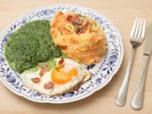 Ka-Ka-Rü-Pü mit Spinat und Ei-chen - Rezept