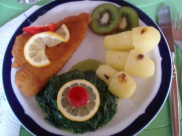 Schollenfilet mit Rahmspinat und Kartoffelpilzen - Rezept