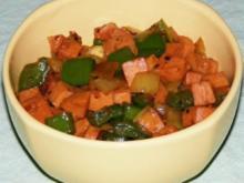 Geflügelfleischwurst-Zwiebel-Paprika-Geschnetzeltes - Rezept