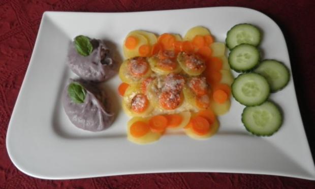Zugedeckter Fisch mit violetten Kartoffelpüree - Rezept - Bild Nr. 2