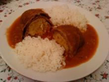 Zwergi's Rinder - Roulade mit besonderer Fuellung an Tomatensauce und Reis - Rezept