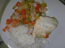 Fisch : Kabeljau gedämpft auf köstlichen Gemüsebeet - Rezept
